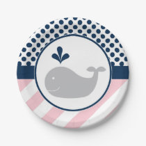 Pink Whale Paper Plates