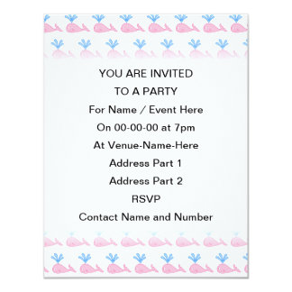 Pink Whale Pattern. 4.25x5.5 Paper Invitation Card