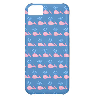Pink Whale Pattern on Blue. Cover For iPhone 5C