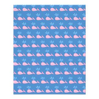 Pink Whale Pattern on Blue. Flyer Design
