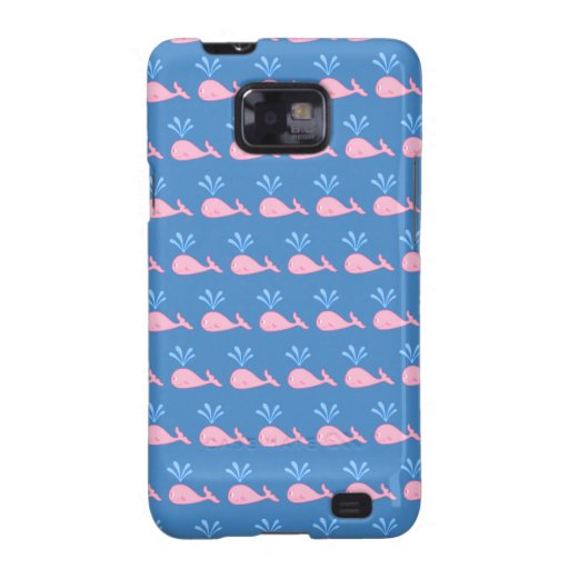 Pink Whale Pattern on Blue. Galaxy S2 Covers