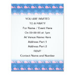 """Pink Whale Pattern on Blue. 4.25"""" X 5.5"""" Invitation Card"""