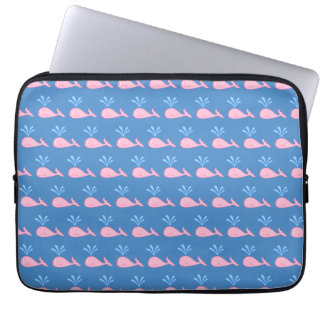 Pink Whale Pattern on Blue. Laptop Sleeves