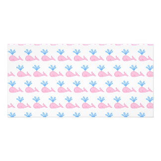 Pink Whale Pattern Photo Greeting Card