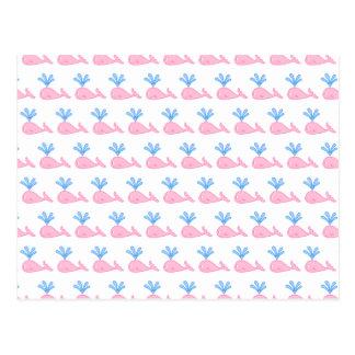 Pink Whale Pattern. Postcard