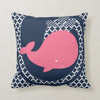 Pink Whale Patterned Throw Pillow