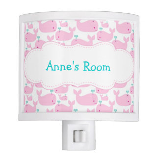 Pink Whale Personalized Night Light