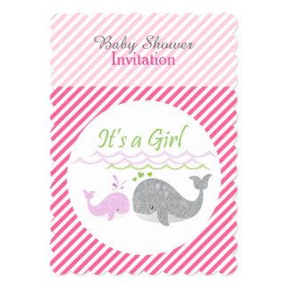 Pink Whale Pink Striped Baby Shower Invitation