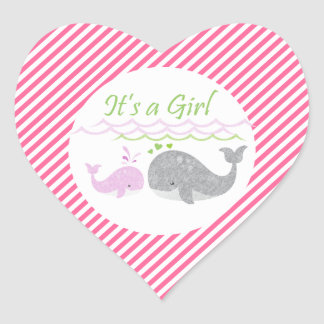 Pink Whale Pink Striped Baby Shower Stickers
