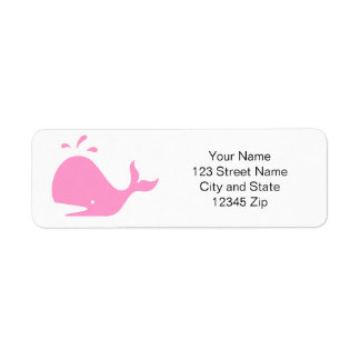 Pink whale return address labels