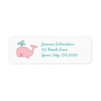 Pink Whale Sticker Labels