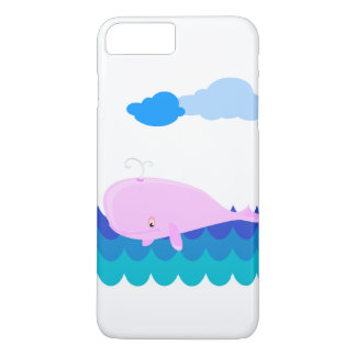 Pink Whale Swimming at Sea iPhone 7 Plus Case