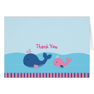 Pink Whale Thank You Note Cards