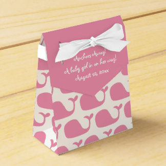 Pink Whale Theme Baby Shower Favor Boxes