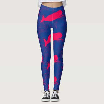 Beach Themed pink whales blue leggings