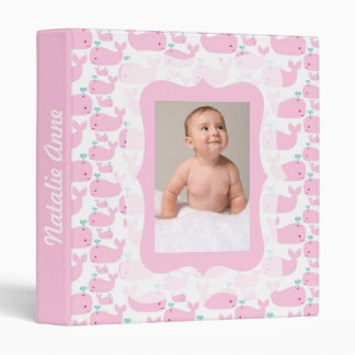 Pink Whales Photo Ready Baby Album 3 Ring Binder