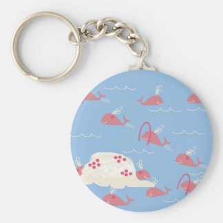 Pink Whales Playing Keychain