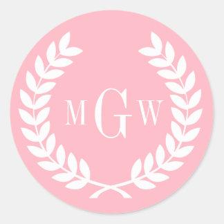 Pink Wheat Laurel Wreath Monogram Env Seals Sticker