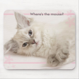 Pink  Where's the mouse? Mouse Pad
