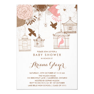 Pink Whimsical Birdcages Baby Shower Invitation