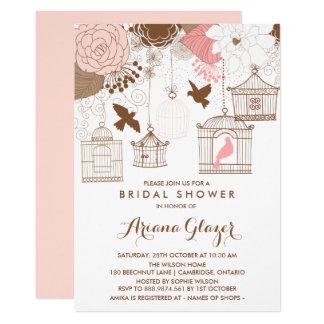 Pink Whimsical Birdcages Bridal Shower Invitation