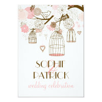 Pink Whimsical Birdcages Floral Wedding Invitation