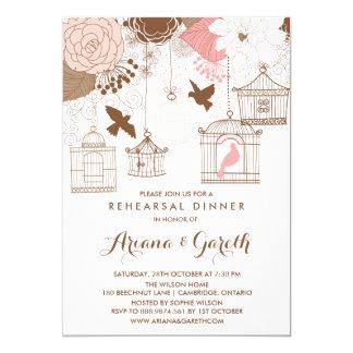 Pink Whimsical Birdcages Rehearsal Dinner Invite