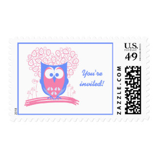 Pink Whimsical Cute Owl Custom postage stamps
