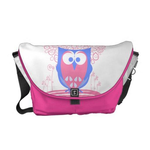 Pink Whimsical Cute Owl messenger bag