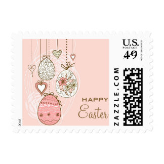 Pink Whimsical Easters Eggs Happy Easter Stamp