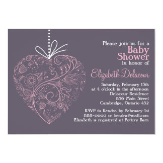 Pink Whimsical Floral Heart Baby Shower Invitation