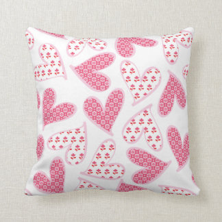Pink Whimsical Floral Hearts Pattern Throw Pillow