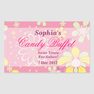 Pink Whimsical Flower Candy Buffet Sticker