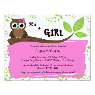Pink Whimsical Owl Baby Shower Invite