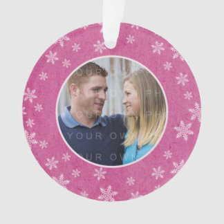 Pink Whimsical Snowflakes Holiday Photo Ornament