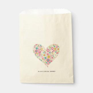 Pink Whimsical Spring Flowers Heart Love Wedding Favor Bag