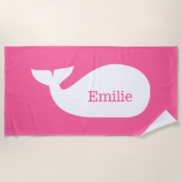 Beach Themed Pink Whimsical Whale Personalized Children's Beach Towel