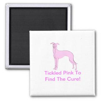 Pink Whippet Fridge Magnets