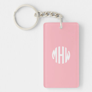 Pink White 3 Initials in a Circle Monogram Single-Sided Rectangular Acrylic Keychain