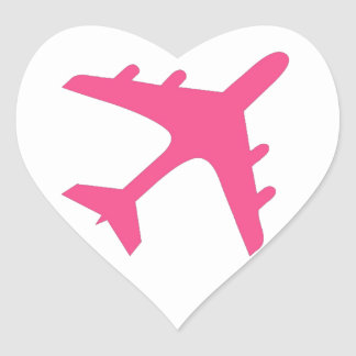 Pink white airplane design heart sticker