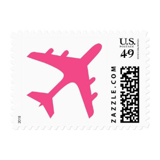 Pink white airplane design postage stamps