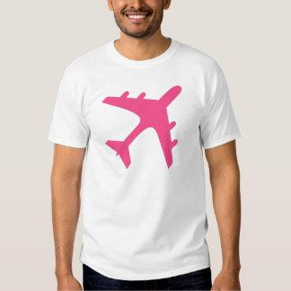 Pink white airplane design t shirt