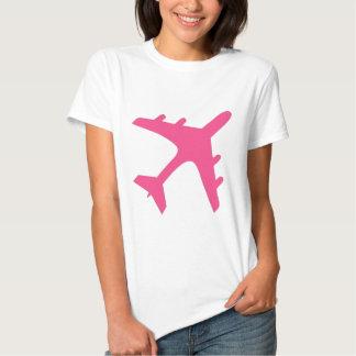 Pink white airplane design tee shirts