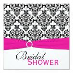 "Pink, White, and Black Damask Bridal Shower Invite 5.25"" Square Invitation Card"