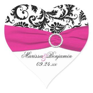Pink, White, and Black Damask Heart Shape Sticker sticker