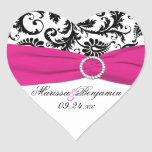 Pink, White, and Black Damask Heart Shape Sticker