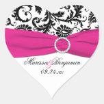 Pink, White, and Black Damask Heart Shape Sticker