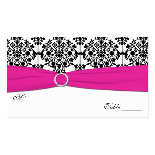 Pink, White and Black Damask Placecards Business Cards