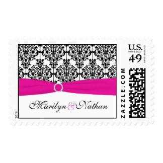 Pink, White, and Black Damask Postage