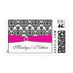 Pink, White, and Black Damask Postage